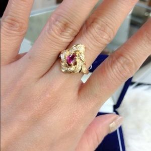 REAL 18k Gold with RUBY stone